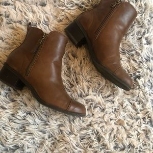 Chaps Brown Ankle Zip Up Boots
